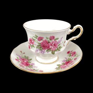 Vintage Queen Anne Pink Roses Tea Cup and Saucer